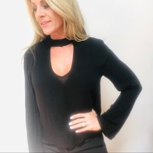 Anthropologie Cloth & Stone Choker LS Black Top